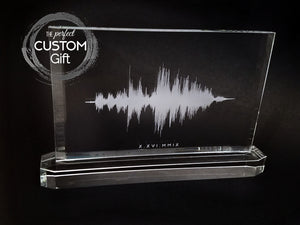 Crystal Sound Wave Plaque with Crystal Base | CRYSTAL