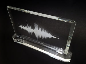 Memorial Crystal Sound Wave Plaque with Crystal Base | CRYSTAL