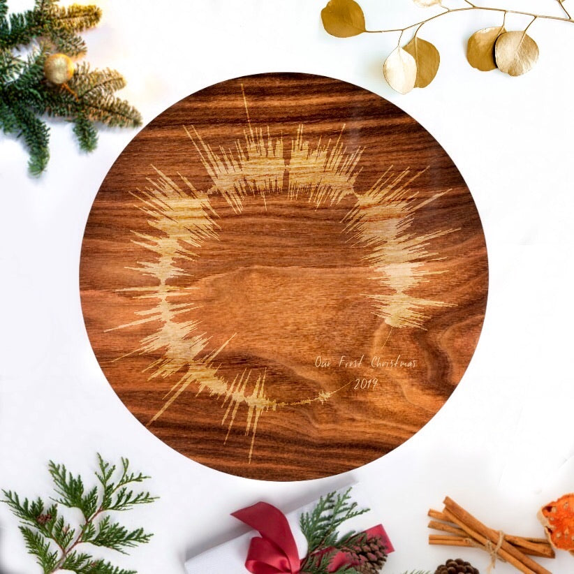 Round Wooden Sound Wave Print, Unique Holiday Gift Ideas | CIRCLE