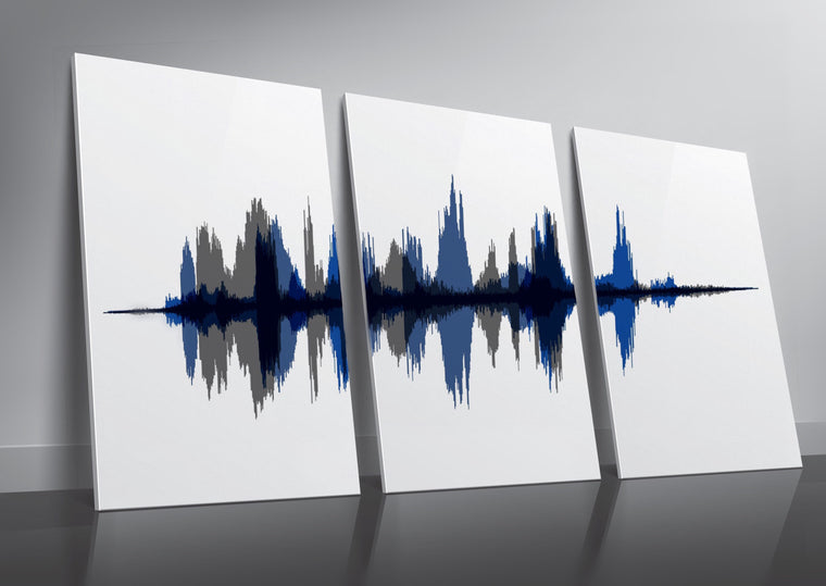 Large Scale Three Piece Set Cotton Canvas Sound Wave Prints | PAPER/CANVAS