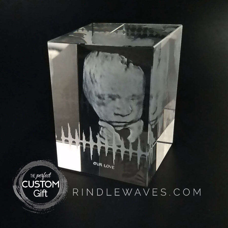 Custom Crystal 3D print with Sound Wave Heartbeat | CRYSTAL