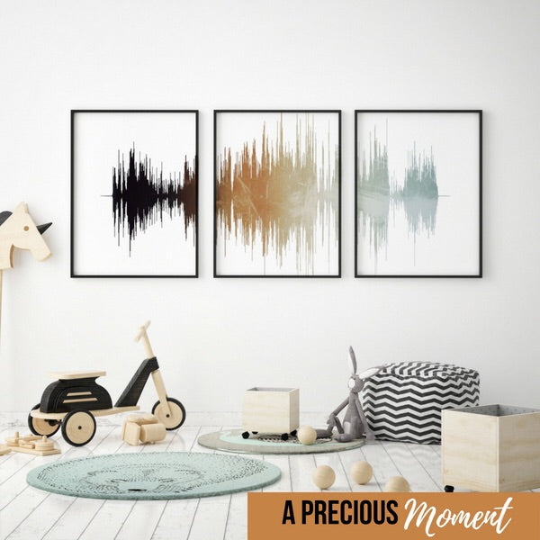 Three Piece Set SoundWave Prints, Framed Nursery Art, Modern Nursery Decor | PAPER/CANVAS