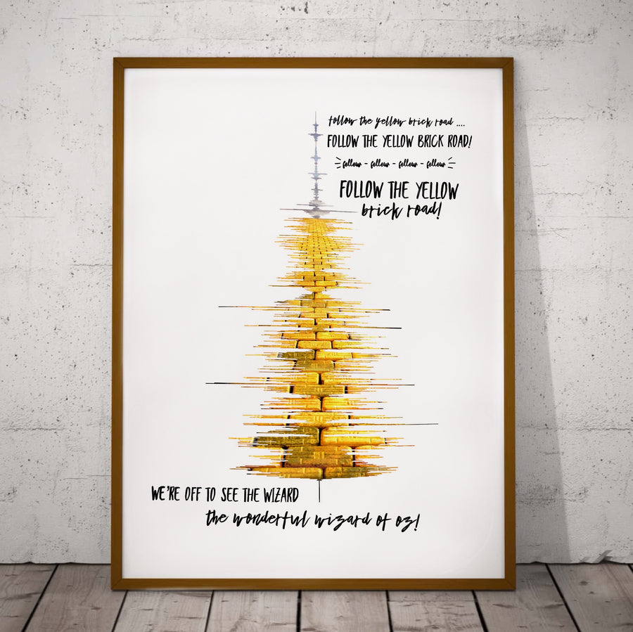 """Follow the Yellow Brick Road"" Soundwave Print, The Wizard of Oz Print, Wizard of Oz Decor 