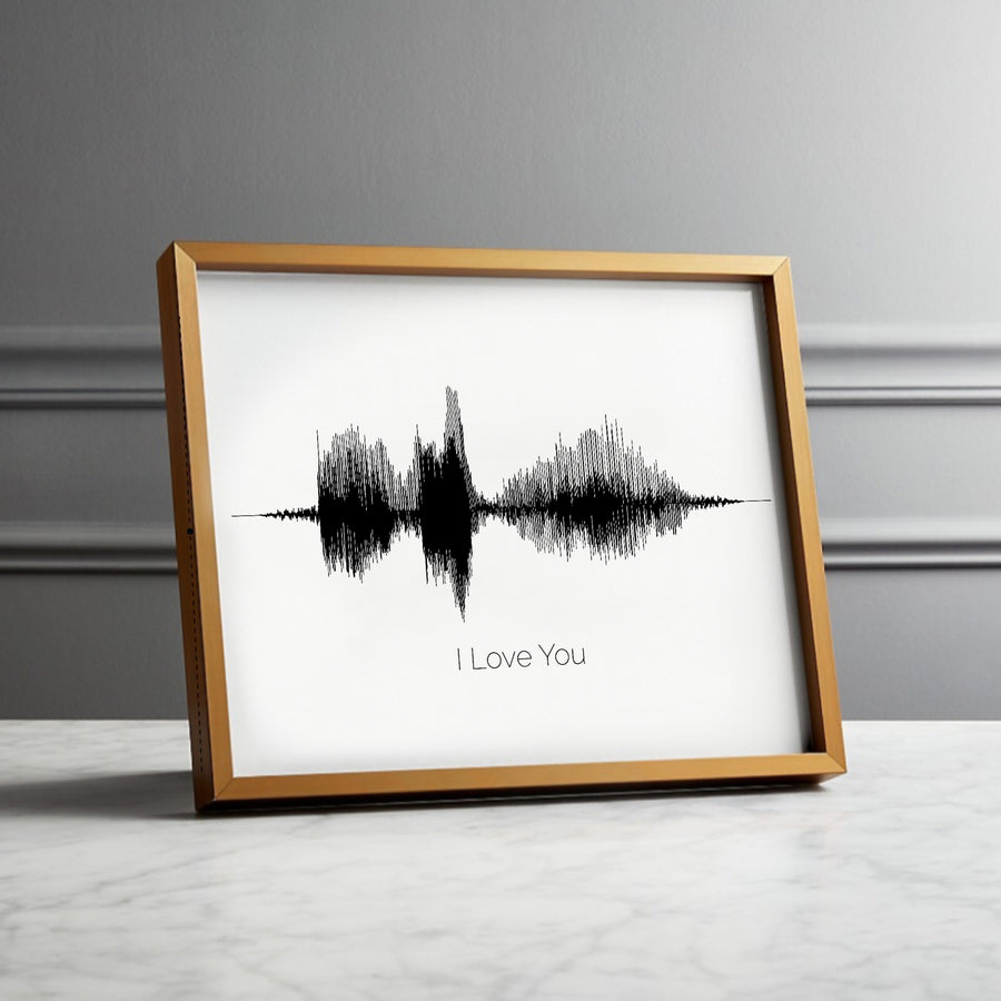 """I Love You"" Premade Soundwave Print on Paper or Canvas, I love you sound wave 