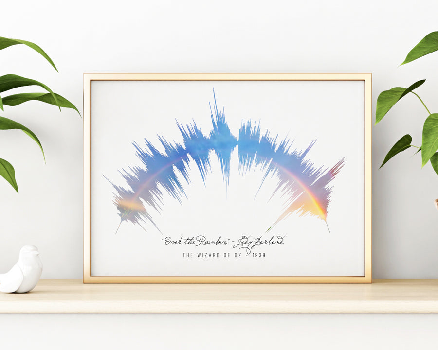 """Somewhere Over the Rainbow"" Sound Wave Print, Unique The Wizard of Oz Decoration 