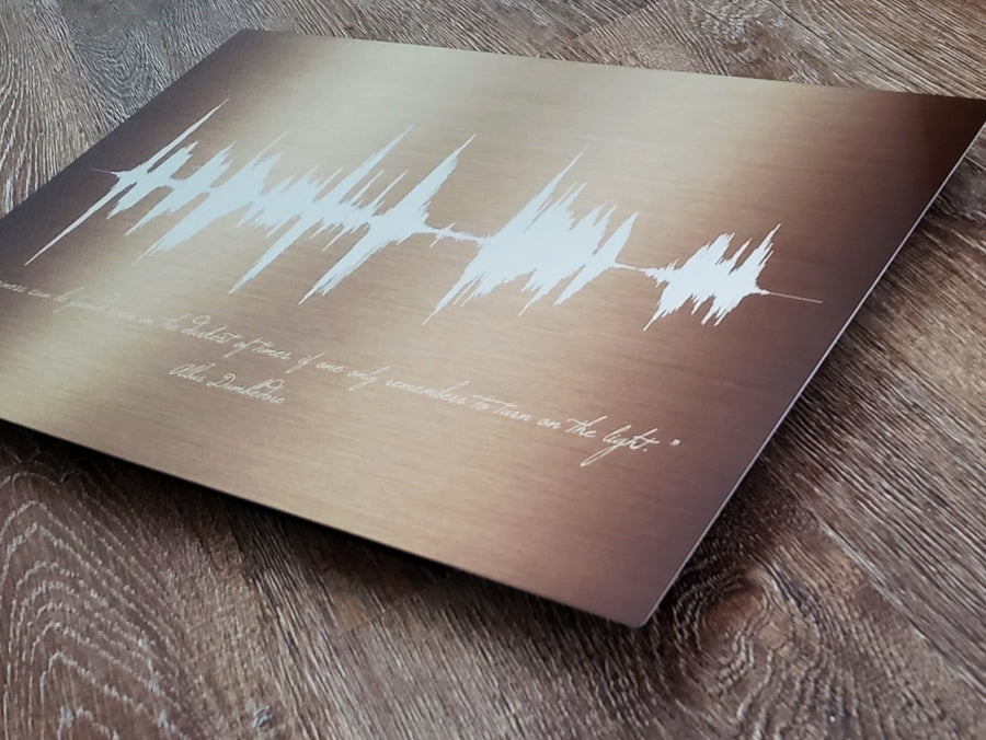 Gold Tone Metal Print, Gold Anniversary Gift idea, Gold Sound Wave Print for Her | METAL