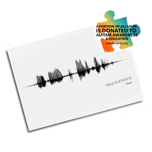 Speech Language Pathologist Gift Idea, SLP Gift, Autism Awareness Gift Idea, Personalized Sound Wave | PAPER