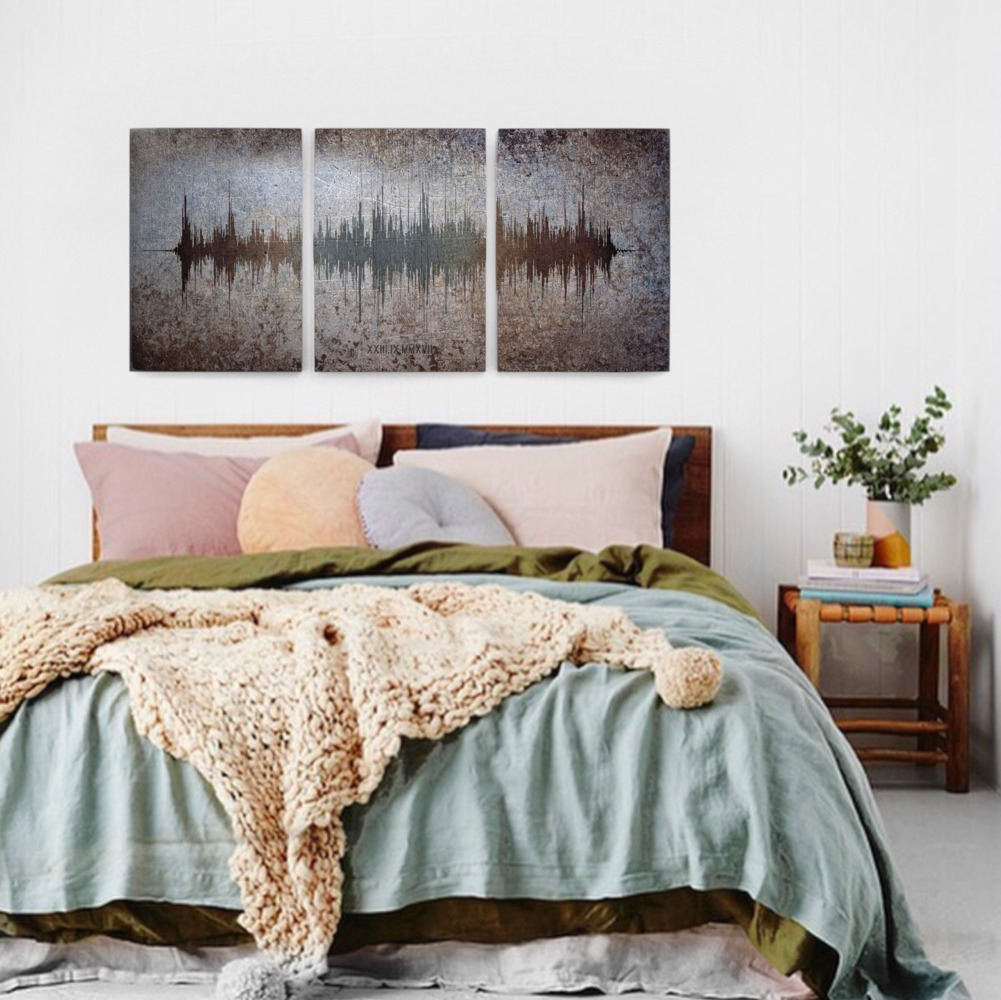 Large metal wall art sound wave contemporary metal wall art metal