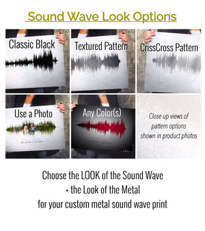 Traditional Ten Year Anniversary Gift Idea, Aluminum Metal Sound Wave Art Print METAL