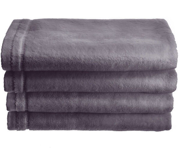 Cotton velour Set of 4 Towels - Gray