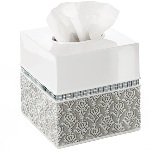 Mirror Damask Square Tissue Box