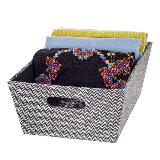 Open Bin Large - Herringbone Black