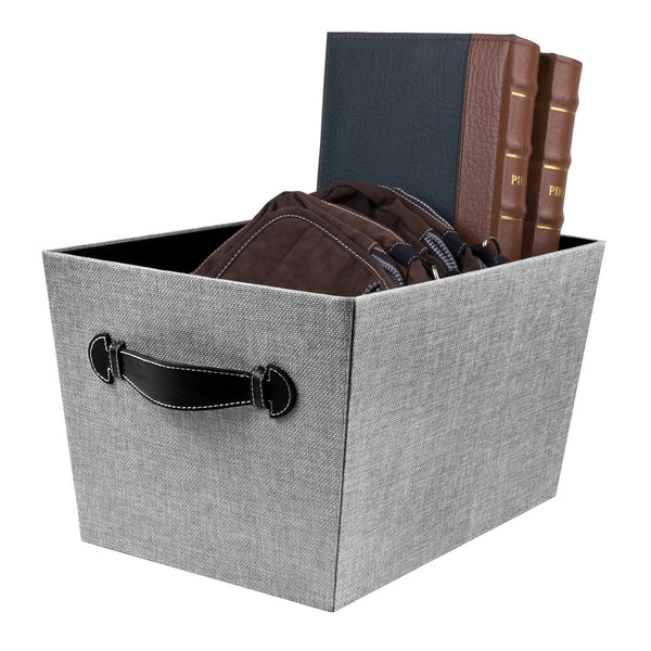 Storage Bin with Handles, Gray Birch