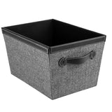 Storage Bin with Handles, Herringbone Black