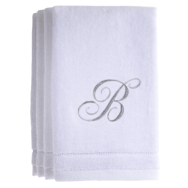 Set of 4 monogrammed towels - Initial B