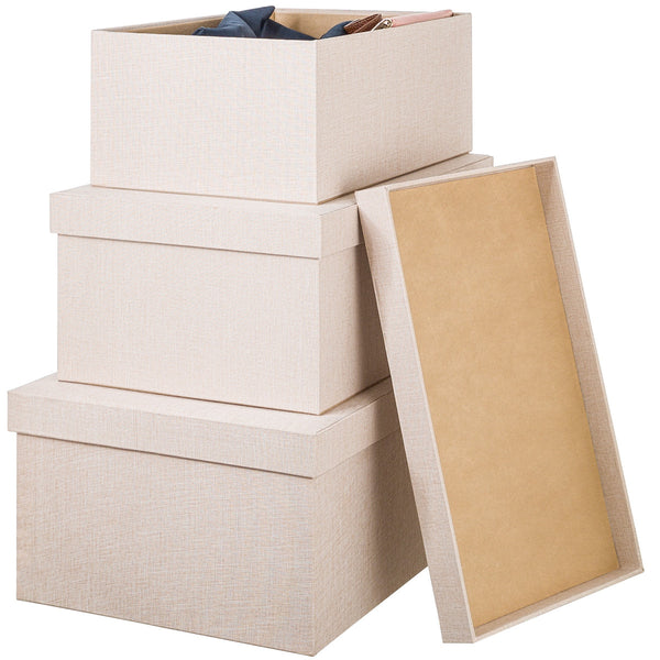 Boxes with lids, Set of 3 - Twilight Linen