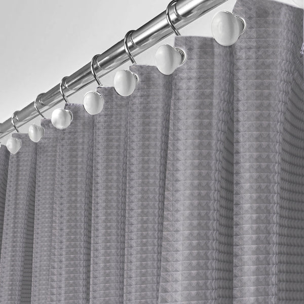 Grey Waffle Shower Curtain with Linar