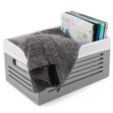 Wooden Gray Storage Bins - Medium