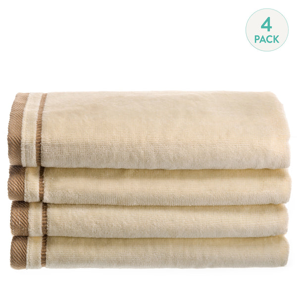 Cotton velour Set of 4 Towels - Ivory