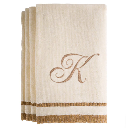 Set of 4 monogrammed towels - Initial K