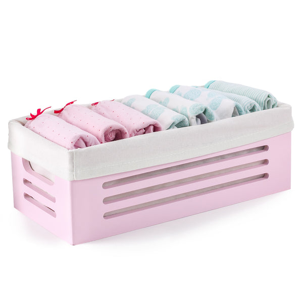 Wooden Pink Storage Bins - Extra Small