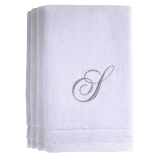 Set of 4 monogrammed towels - Initial S