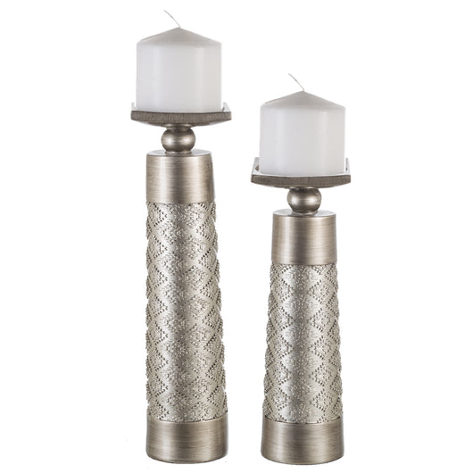 Decorative Silver Dublin Candle Sticks Set of 2