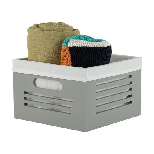 Lined Decorative Bin - Gray Cube