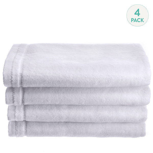 Cotton velour Set of 4 Towels - White