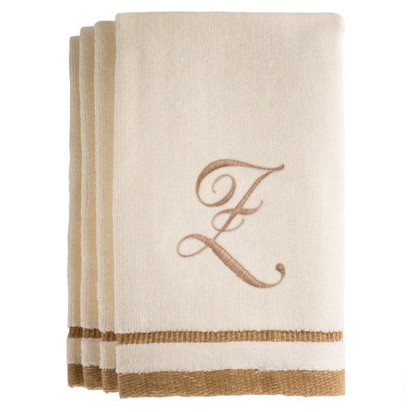 Set of 4 monogrammed towels - Initial Z