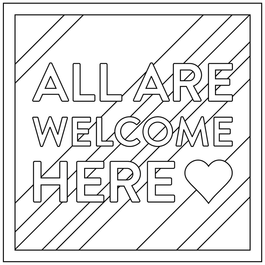 free download all are welcome here coloring sheet
