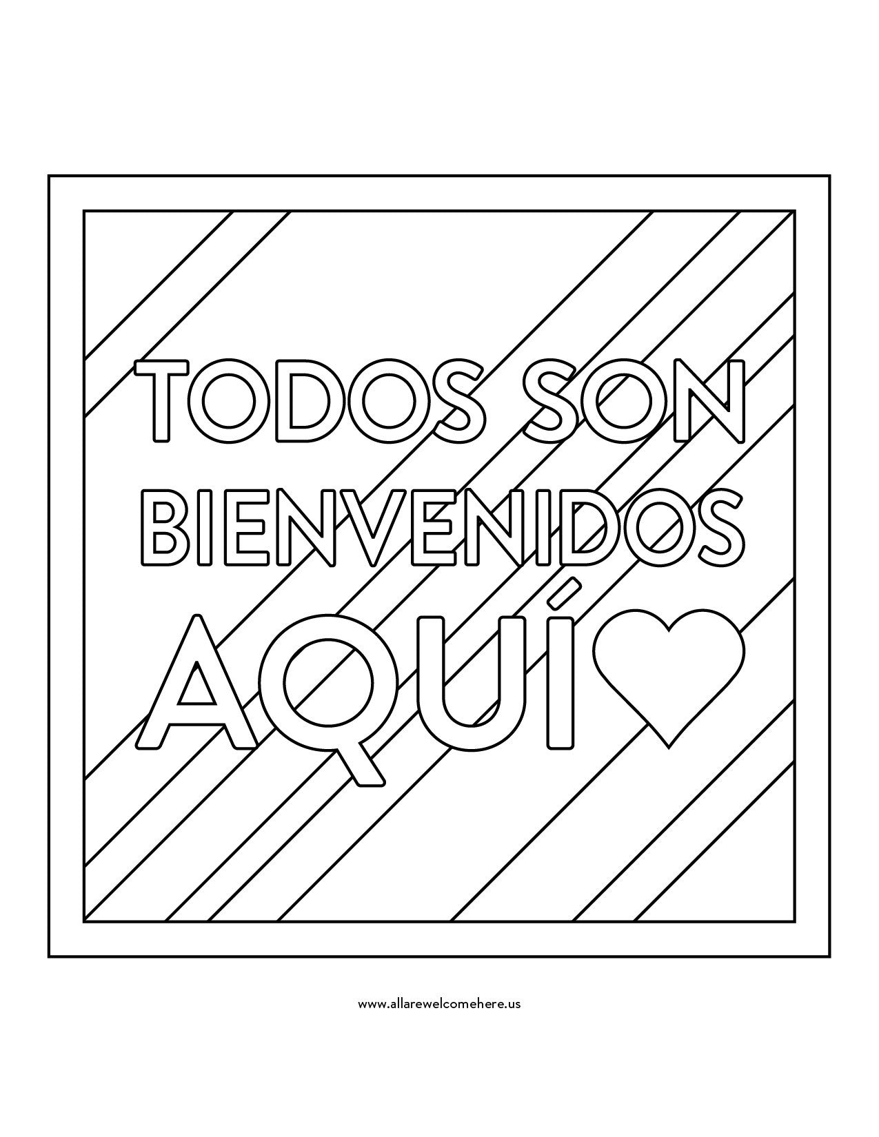 Free Download: Spanish Coloring Sheet – All Are Welcome Here