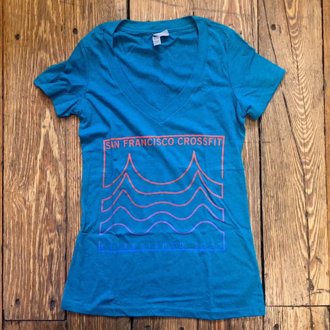 Women's Teal Bridge V Neck