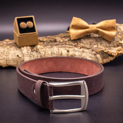 Dark brown cork belt for men. Handmade from cruelty free cork. Vegan AF! - ECO-ISTS