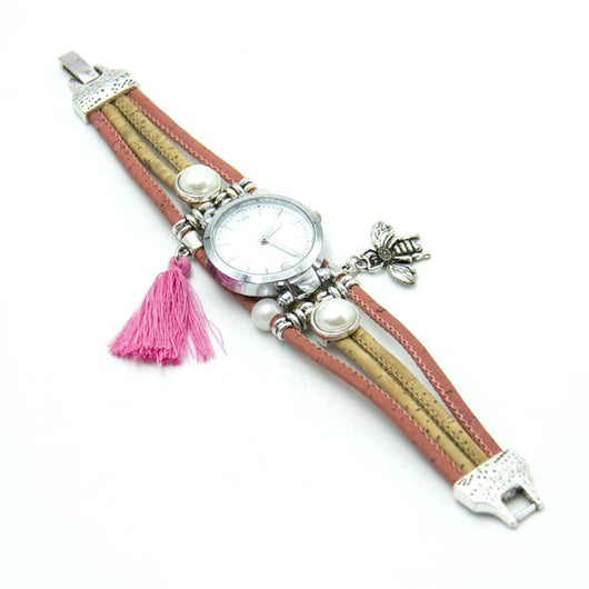 Ladies' Watch with natural and pink colored cork wrist straps. Pink tassle and a Bee to Boot. Handmade. - ECO-ISTS
