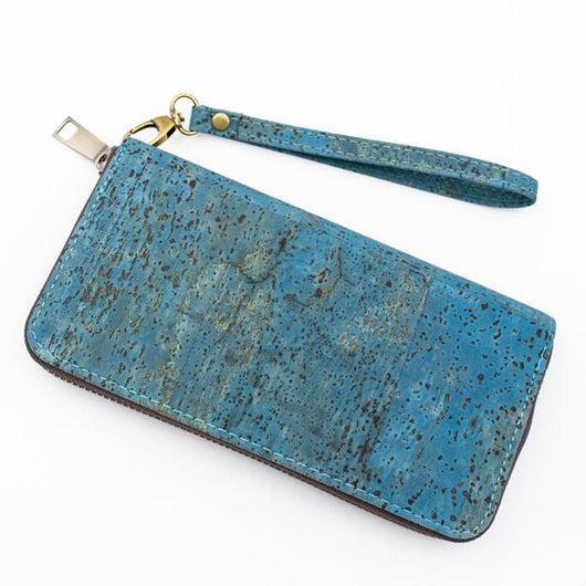 All Natural cork turquoise cork zipper women wallet BAG-324-K - ECO-ISTS