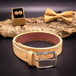 Natural brown cork belt for men. Handmade from cruelty free cork. Vegan AF! - ECO-ISTS