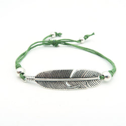 Adjustable Drawstring Women's Bracelet with Feather - ECO-ISTS