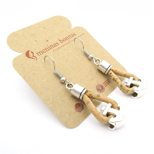 Vegan Handmade Cork Nautical Earrings with Small Anchors - ECO-ISTS