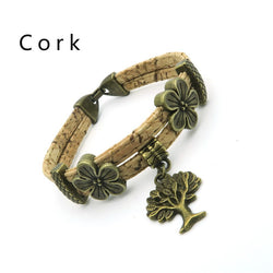 Brass Tree of Life Bracelet handmade with Cork Strands, Vegan Chic! - ECO-ISTS
