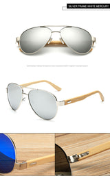 Men's aviator sunglasses, UV 400, bamboo wood legs - ECO-ISTS