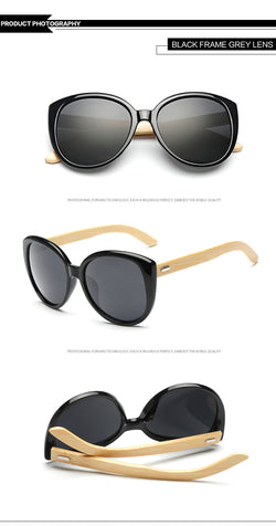 Cats-eye Ladies Fashion Sunglasses with UV protection and Bamboo Wood legs - ECO-ISTS