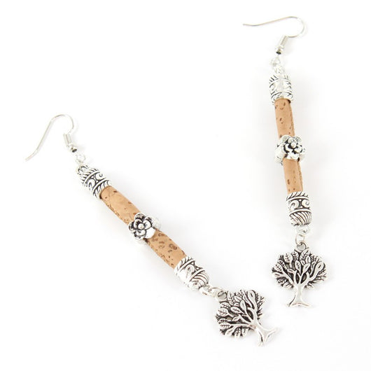 Earrings with long Tree of Life Motif Handmade from Cork - ECO-ISTS