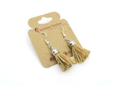 Vegan Chic Natural Color Cork Tassel Earrings - ECO-ISTS