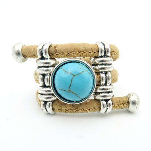 Cork Ring with Turquoise, Available In 2 colours. Cool Vegan Fashion! - ECO-ISTS