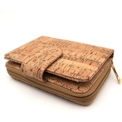 Vegan Wallet made from Cork with a flap and inner zipper - ECO-ISTS