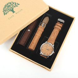 Natural cork watch with 2 strap replacements