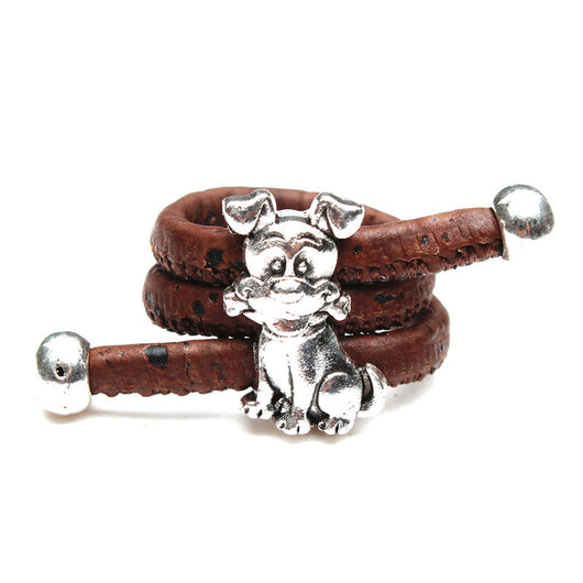 Cork Ring with Dog Bezel, Available In 2 colours. Cool Vegan Fashion! - ECO-ISTS