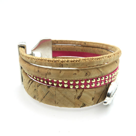 Multi strand Sexy Women's Cork Bracelet with Feather and Pink accent - ECO-ISTS