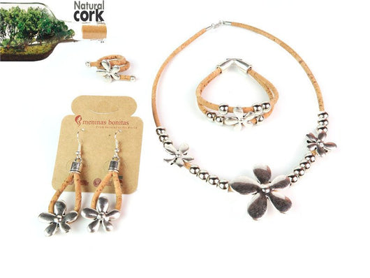 Single Flower on Cork Jewellery Set: Necklace, Bracelet, Ring and Earrings. Flower Power - ECO-ISTS
